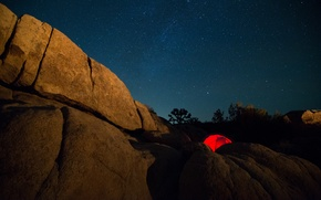 Picture night, rock, tent, the milky way, Milky Way, Joshua Tree National Park