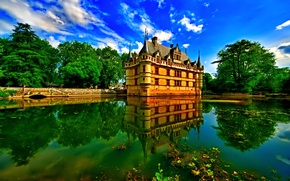 Picture the sky, trees, pond, castle