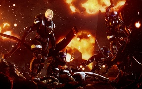 Picture the explosion, death, rendering, war, woman, soldiers, battlefield, armor, corpses, soldiers, War, death