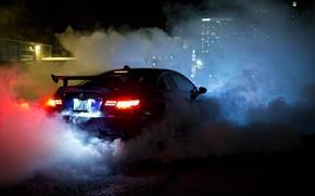 Picture night, blue, smoke, view, bmw, BMW, back, smoke, blue, night, headlights, e92, wing