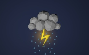 Picture lightning, cloud, clouds, polygon