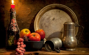 Picture candle, pitcher, still life, dish, bunch of grapes, An image of the past