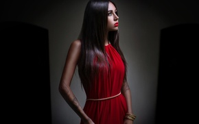 Picture girl, red, model, dress, tattoo, red, the beauty, Beautiful, dress, Girls, Diana Melison, Beautyful