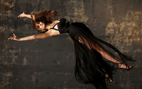 Wallpaper background, studs, Nina Dobrev, actress, black, Nina Dobrev, sandals, hair, girl, shoes, levitation, dress