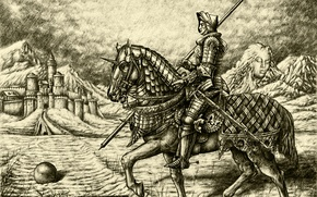 Picture horse, figure, graphics, armor, rider, fortress, the middle ages, Knight, Dürer, Parsadanov
