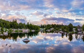 Picture forest, the sky, water, clouds, trees, lake, reflection, stones, the evening, panorama, USA, Wyoming