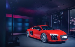 Picture Audi, Red, Front, New, Supercar, Wheels, 2015