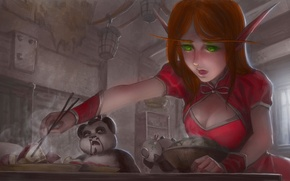 Picture art, World of Warcraft, meal, the blood elf, Pandaren