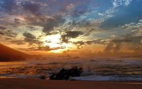 Wallpaper Sunset, wave, clouds