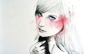 Wallpaper girl, face, paint, figure, hand, art