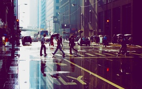 Picture reflection, people, street, building, skyscrapers, puddle, Chicago, Chicago