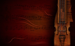 Picture notes, background, tool, violin