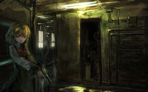 Picture pipe, gun, corridor, baby, the room, art, lm7
