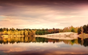 Picture autumn, leaves, trees, landscape, nature, lake, reflection, shore, the evening, yellow, Germany, green, Germany, The ...