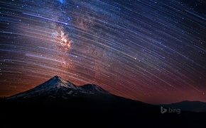 Picture the sky, stars, mountains, night, CA, USA