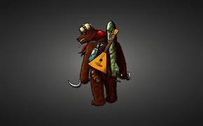 Picture hat, bottle, wick, rocket, bear, cigarette, black background, the hammer and sickle, bear, matryoshka, balalaika, …