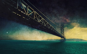 Picture the sky, water, stars, mountains, bridge