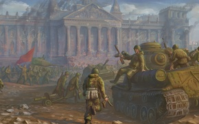 Picture war, victory, army, art, USSR, soldiers, battle, tanks, the second world war, the great Patriotic …