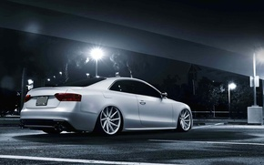 Picture Audi, white, stance, vossen wheels, rearside