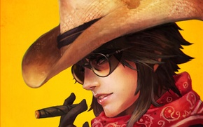 Picture girl, hat, glasses, cigar, cowboy, fan art, casual, overwatch, McCree