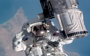 Picture ship, astronaut, space.the suit