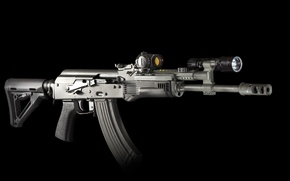 Picture weapons, background, machine, flashlight, rifle, assault