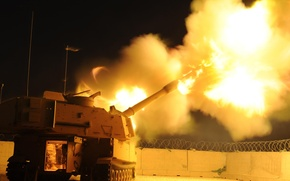 Wallpaper flame, volley, self-propelled, artillery, m109a2