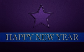 Picture blue, the inscription, strip, star, new year, happy new year, purple background