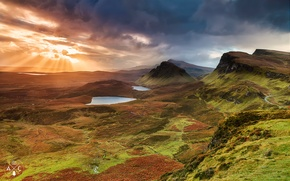 Picture the sky, the sun, clouds, rays, light, mountains, hills, the evening, valley, Scotland, Isle of ...