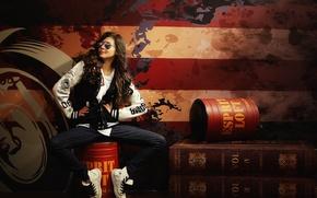 Wallpaper girl, face, background, hair, jeans, glasses, jacket
