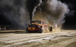 Picture sand, smoke, Dodge, Dodge, track
