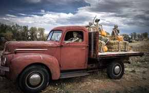 Picture Ford, Ford, truck, pumpkin, Halloween, Halloween, skeletons, Ghost riders