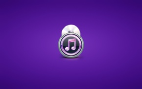 Picture minimalism, player, disk, note, purple background