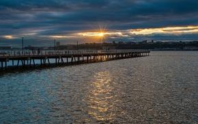 Picture the sun, sunset, river, Nature, nature, sunset, riverside