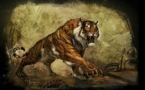 Wallpaper tiger, the world, plant, art, the concept, claws, underworld, tiger, art, lara, tombs, the raider, ...