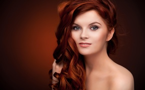 Picture girl, hair, red, makeup. look. shoulders. background