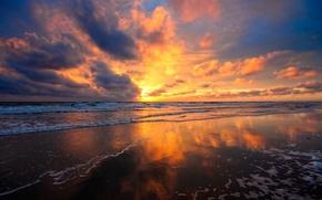 Picture sea, beach, the sky, fire