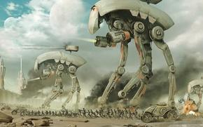 Wallpaper attack, war, droids