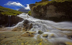 Picture mountains, river, stones, rocks, Italy, Piedmont, young rcca