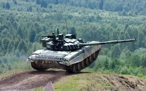 Picture road, exercises, tank, tankodrom