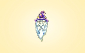 Wallpaper head, minimalism, Merlin, beard white, hypnosis eyes, cap, purple, a month, the wizard, star