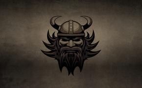 Picture the dark background, head, horns, helmet, beard, Viking, VIKING, gall