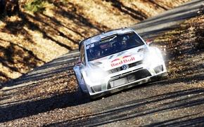 Picture Auto, Road, Autumn, White, Volkswagen, Speed, Light, Lights, WRC, Rally, The front, Polo, Ancestor