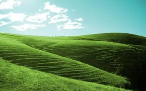 Wallpaper clouds, green, Hills
