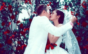 Picture lovers, the bride, the groom, Asians