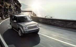 Picture road, sea, summer, the sun, movement, jeep, SUV, Land Rover, Discovery 4