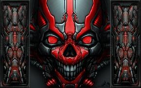 Picture skull, red, metallic, mech skull