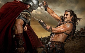 Picture blood, soldiers, the series, battle, Spartacus, Spartacus, Gannicus, Dustin Clare, Dustin Clare