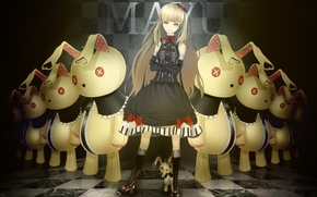 Picture toys, dress, rabbits, vocaloid, bow, long hair, mayu