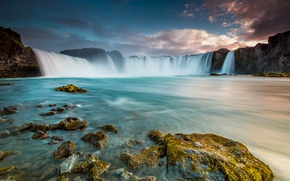 Wallpaper stones, river, the sky, waterfall, Iceland, mountains, landscape